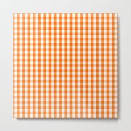Classic Pumpkin Orange and White Gingham Check Pattern Metal Print