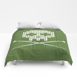 Knitted Skull - White on Olive Green Comforters