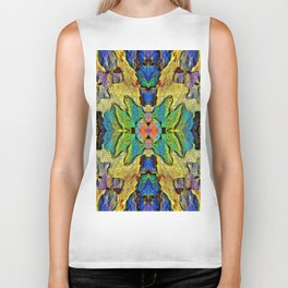 Colorful  Nature Wood Pattern Psychedelic Art Biker Tank