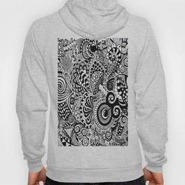 Mushy Madness doodle art Black and White Hoody