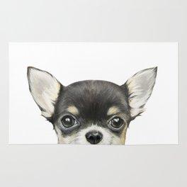 Chihuahua mix color Dog illustration original painting print Rug