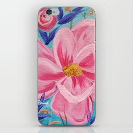 Pink and Wild, Pink Lily, Pink Flower, Pink and Blue Floral Art iPhone Skin
