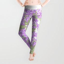Botanical violet lavender green floral pattern Leggings