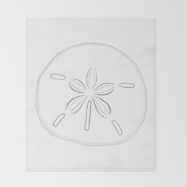 Sand Dollar Blessings - Black on White Pointilism Art Throw Blanket