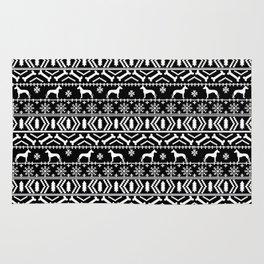 Great Dane fair isle christmas holiday black and white minimal pattern gifts for dog lover Rug