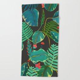 dark tropical red flowers Beach Towel