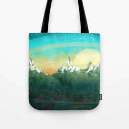 Mountains abowe the blue sky Tote Bag