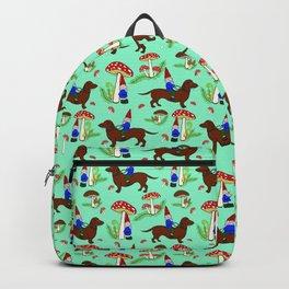 Gnome & Dachshund in Mushroom Land, Robins Egg Blue Background Backpack