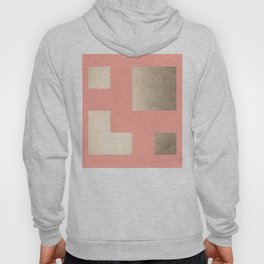 Simply Geometric White Gold Sands on Salmon Pink Hoody
