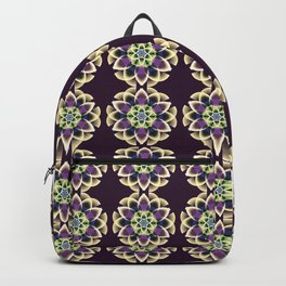 Fantasy flower on a purple background Backpack
