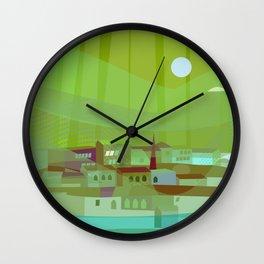 Fishing Village at Night Wall Clock