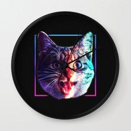 Silent Screaming Cat Wall Clock