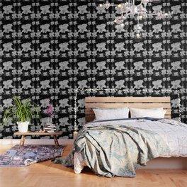 WHITE CATTLEYA ORCHIDS IN BLACK & WHITE ART Wallpaper