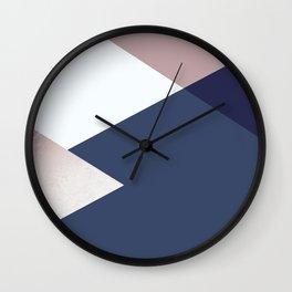 Geometrics - blush indigo rose gold Wall Clock