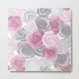 Rose Flower Watercolor Collage Metal Print
