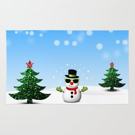 Cool Snowman and Sparkly Christmas Trees Rug