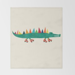 Crocodile on Roller Skates Throw Blanket