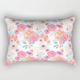 Indy Bloom Design Blush White Florals Rectangular Pillow