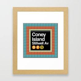 subway coney island sign Framed Art Print