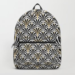 Art Deco Fan Pattern, Black and White Backpack