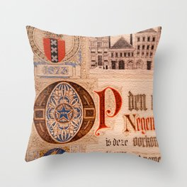 Historic Document  Antique Certificate Vintage Throw Pillow