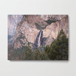 Sunset on Bridalveil Fall in Yosemite National Park Metal Print