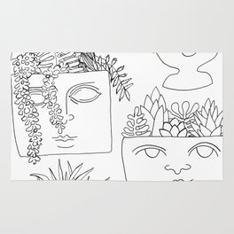 Illustrated Plant Faces in White Rug