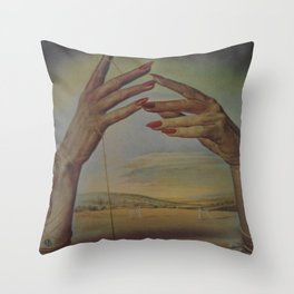 PORTRAIT OF A PASSIONATE WOMAN  (The Hands)  by Salvador Dali Throw Pillow