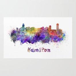 Hamilton skyline in watercolor Rug