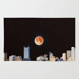 Blood Moon Over Pittsburgh Pennsylvania Skyline Rug