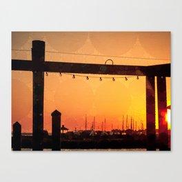 Yacht Basin Marina View Sunset Southport NC Canvas Print