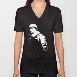 General George Patton - Black and White Unisex V-Neck