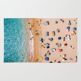People On Algarve Beach In Portugal, Drone Photography, Aerial Photo, Ocean Wall Art Print Rug