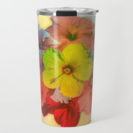 Colorful Hibiscus Bouquet Travel Mug