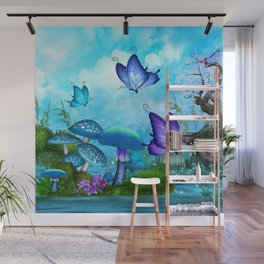 Mystic Whimsey Butterfly Pond Fantasy Wall Mural