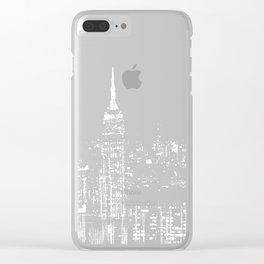 Contemporary Elegant Silver City Skyline Design Clear iPhone Case