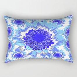 Decorative Delf Blue Tiles Abstracted Floral Art Rectangular Pillow