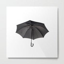 black umbrella with curved handle Metal Print