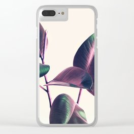 Pink and Green Iridescent Leaves Clear iPhone Case