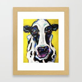 Yellow Dairy Cow Framed Art Print