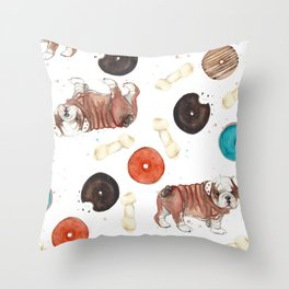 Bulldogs and donuts Throw Pillow