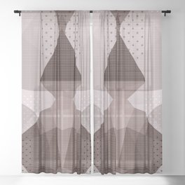 The Japanese Princess - Abstract Brown Beige Sheer Curtain