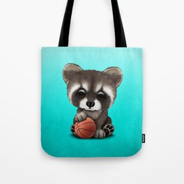 Cute Baby Raccoon Playing With Basketball Tote Bag