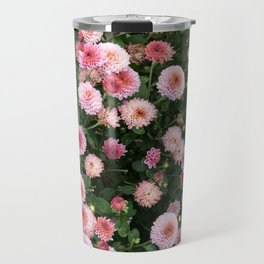 Beautiful pink flower field, shallow depth of field. Natural background with pink flowers, pink chry Travel Mug