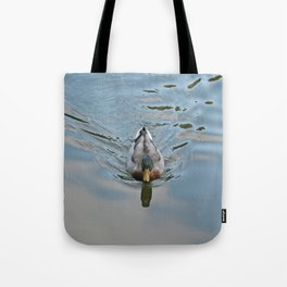 Mallard duck swimming in a turquoise lake 2 Tote Bag