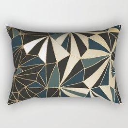New Art Deco Geometric Pattern - Emerald green and Gold Rectangular Pillow