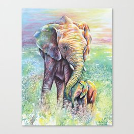 Colorful Mother Elephant and Baby Canvas Print
