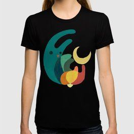 Rabbit and crescent moon T-shirt