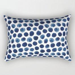 Large Indigo/Blue Watercolor Polka Dot Pattern Rectangular Pillow