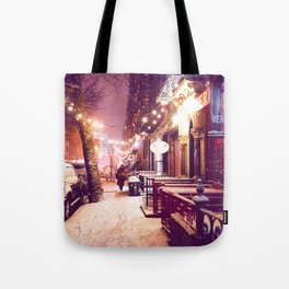 Winter Night with Snow in the East Village New York City Tote Bag